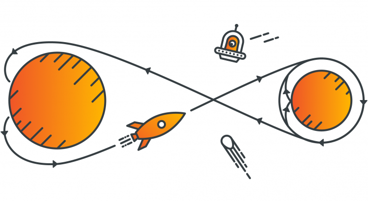 Drawing of two planets, circled by a rocket, symbolizing challenges faced by fintech companies.