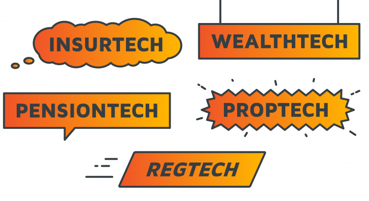A number of signs displaying the words InsurTech, RegTech, WealthTech, PensionTech, and PropTech
