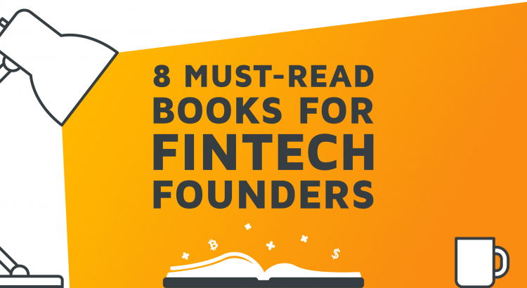A lamp shining on an open book and revealing the writing '8 Must-Read Books for Fintech Founders'